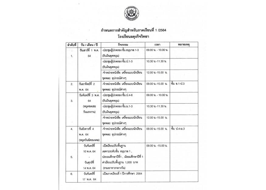 กำหนดการสำหรับภาคเรียนที่ 1 ปีการศึกษา 2564 ของโรงเรียนผดุงกิจวิทยา